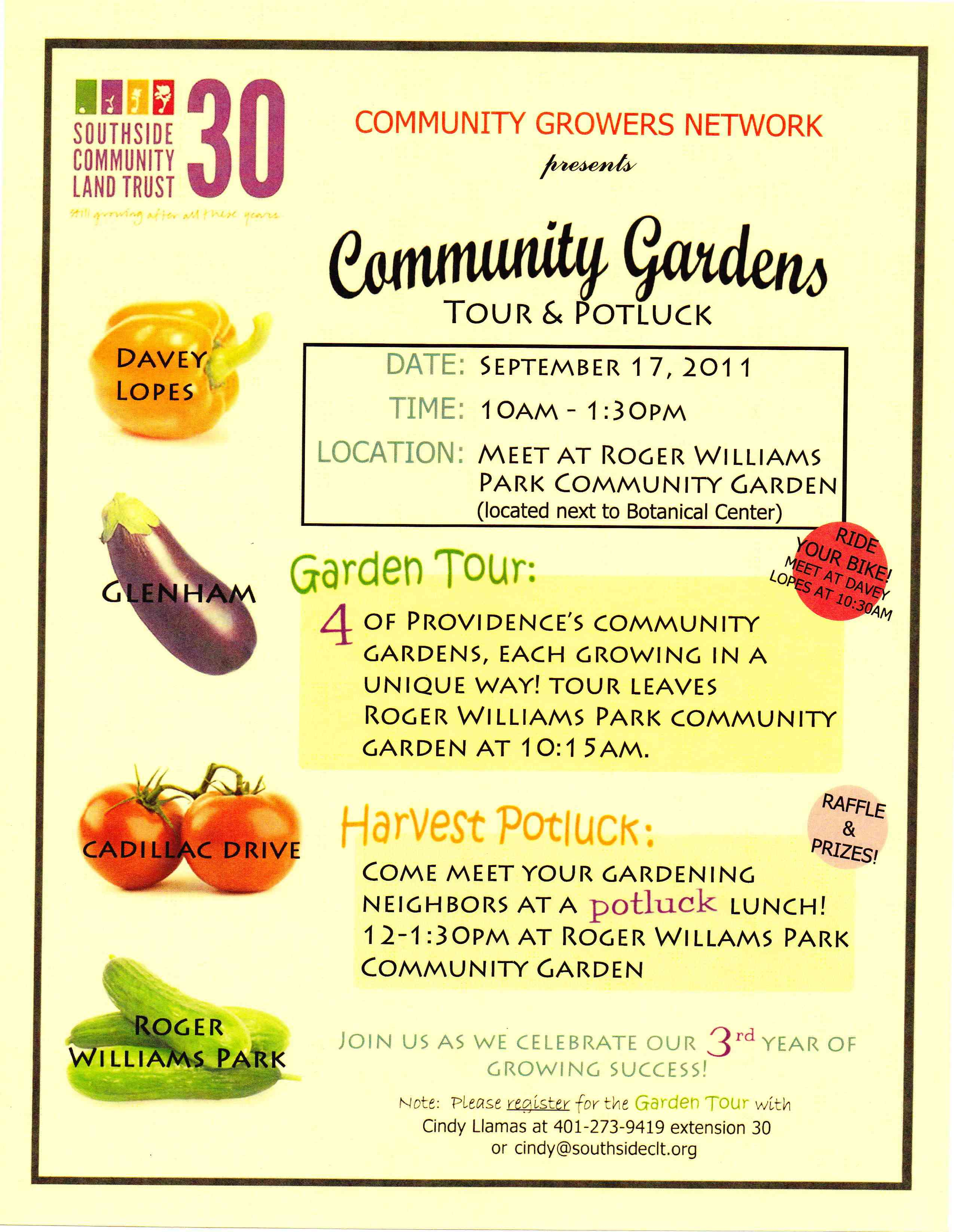 Community Gardens Tour and Potluck From Seed to Fruit